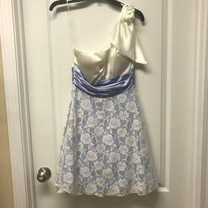 Beautiful White/Violet Off One Shoulder Dress